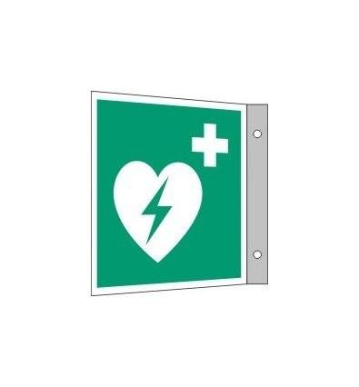 AED Hinweis-Fahnenschild (nachleuchtend)